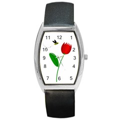 Red Tulip And Bee Barrel Style Metal Watch by Valentinaart