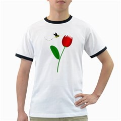 Red Tulip And Bee Ringer T-shirts by Valentinaart