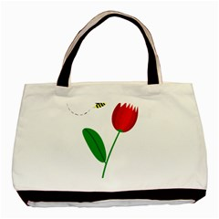 Red Tulip And Bee Basic Tote Bag by Valentinaart