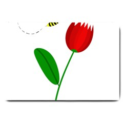 Red Tulip And Bee Large Doormat  by Valentinaart