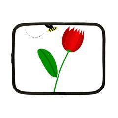 Red Tulip And Bee Netbook Case (small)  by Valentinaart