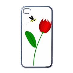 Red Tulip And Bee Apple Iphone 4 Case (black) by Valentinaart