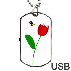 Red Tulip And Bee Dog Tag Usb Flash (one Side) by Valentinaart