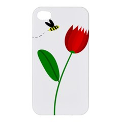 Red Tulip And Bee Apple Iphone 4/4s Hardshell Case by Valentinaart
