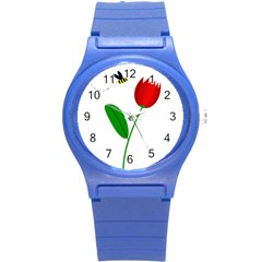Red Tulip And Bee Round Plastic Sport Watch (s) by Valentinaart