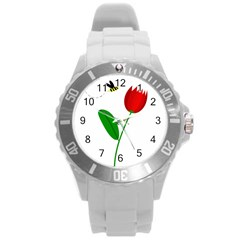 Red Tulip And Bee Round Plastic Sport Watch (l) by Valentinaart