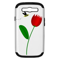Red Tulip And Bee Samsung Galaxy S Iii Hardshell Case (pc+silicone) by Valentinaart