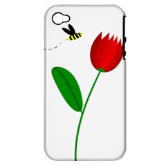 Red Tulip And Bee Apple Iphone 4/4s Hardshell Case (pc+silicone) by Valentinaart