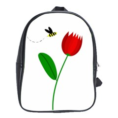 Red Tulip And Bee School Bags (xl)  by Valentinaart