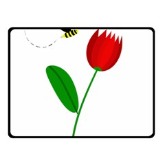 Red Tulip And Bee Double Sided Fleece Blanket (small)  by Valentinaart