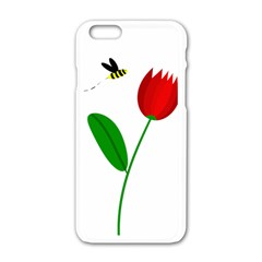 Red Tulip And Bee Apple Iphone 6/6s White Enamel Case by Valentinaart