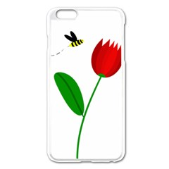 Red Tulip And Bee Apple Iphone 6 Plus/6s Plus Enamel White Case by Valentinaart