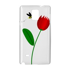 Red Tulip And Bee Samsung Galaxy Note 4 Hardshell Case by Valentinaart