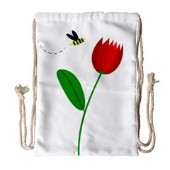 Red Tulip And Bee Drawstring Bag (large) by Valentinaart