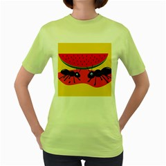 Ants And Watermelon  Women s Green T-shirt by Valentinaart
