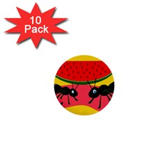 Ants And Watermelon  1  Mini Buttons (10 Pack)  by Valentinaart
