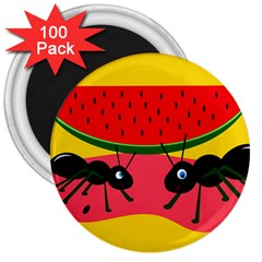 Ants And Watermelon  3  Magnets (100 Pack) by Valentinaart