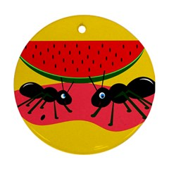 Ants And Watermelon  Round Ornament (two Sides)  by Valentinaart
