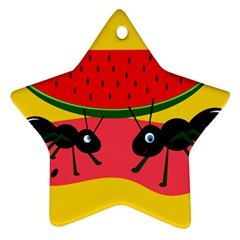 Ants And Watermelon  Star Ornament (two Sides)  by Valentinaart