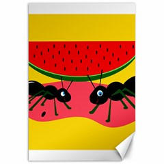 Ants And Watermelon  Canvas 20  X 30   by Valentinaart