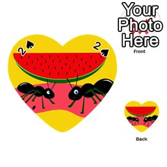 Ants And Watermelon  Playing Cards 54 (heart)  by Valentinaart