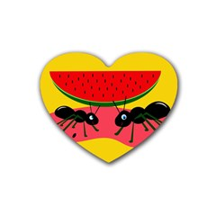 Ants And Watermelon  Heart Coaster (4 Pack)  by Valentinaart