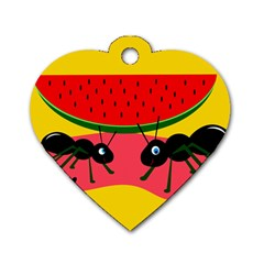 Ants And Watermelon  Dog Tag Heart (one Side) by Valentinaart