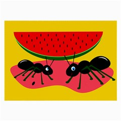 Ants And Watermelon  Large Glasses Cloth by Valentinaart