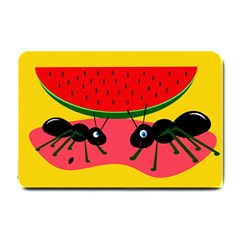 Ants And Watermelon  Small Doormat  by Valentinaart
