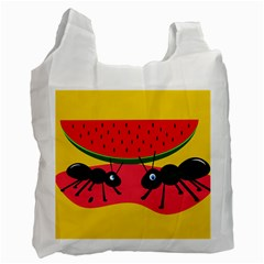 Ants And Watermelon  Recycle Bag (one Side) by Valentinaart