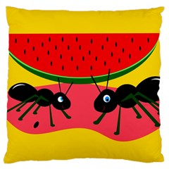 Ants And Watermelon  Large Cushion Case (one Side) by Valentinaart