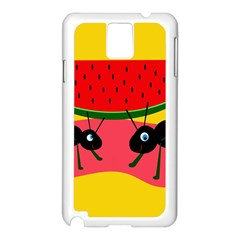 Ants And Watermelon  Samsung Galaxy Note 3 N9005 Case (white) by Valentinaart