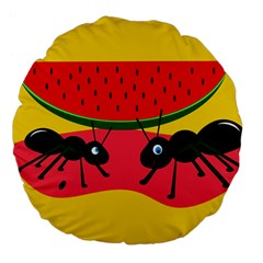 Ants And Watermelon  Large 18  Premium Flano Round Cushions by Valentinaart
