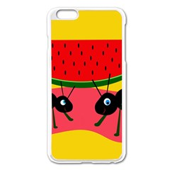Ants And Watermelon  Apple Iphone 6 Plus/6s Plus Enamel White Case by Valentinaart