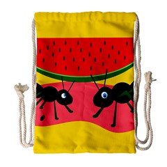 Ants And Watermelon  Drawstring Bag (large) by Valentinaart