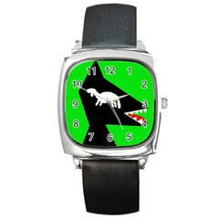 Wolf And Sheep Square Metal Watch by Valentinaart
