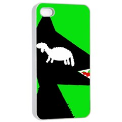 Wolf And Sheep Apple Iphone 4/4s Seamless Case (white) by Valentinaart