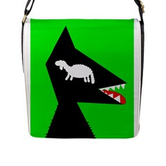 Wolf And Sheep Flap Messenger Bag (l)  by Valentinaart