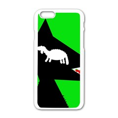 Wolf And Sheep Apple Iphone 6/6s White Enamel Case by Valentinaart