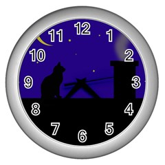 Cat On The Roof  Wall Clocks (silver)  by Valentinaart