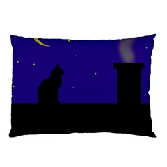 Cat On The Roof  Pillow Case by Valentinaart