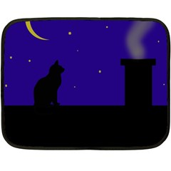 Cat On The Roof  Double Sided Fleece Blanket (mini)  by Valentinaart