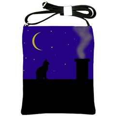 Cat On The Roof  Shoulder Sling Bags by Valentinaart