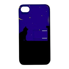 Cat On The Roof  Apple Iphone 4/4s Hardshell Case With Stand by Valentinaart