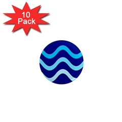 Blue Waves  1  Mini Magnet (10 Pack)  by Valentinaart