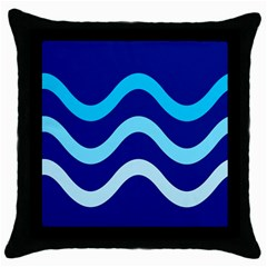 Blue Waves  Throw Pillow Case (black) by Valentinaart