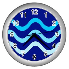 Blue Waves  Wall Clocks (silver)  by Valentinaart