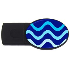 Blue Waves  Usb Flash Drive Oval (2 Gb)  by Valentinaart