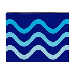Blue Waves  Cosmetic Bag (xl) by Valentinaart