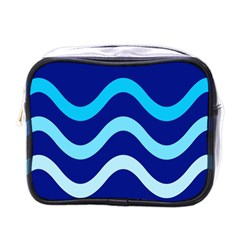 Blue Waves  Mini Toiletries Bags by Valentinaart